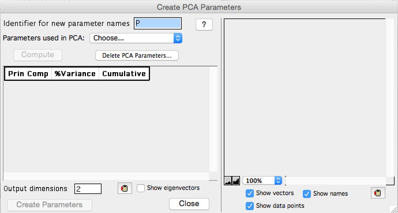 PCA menu empty