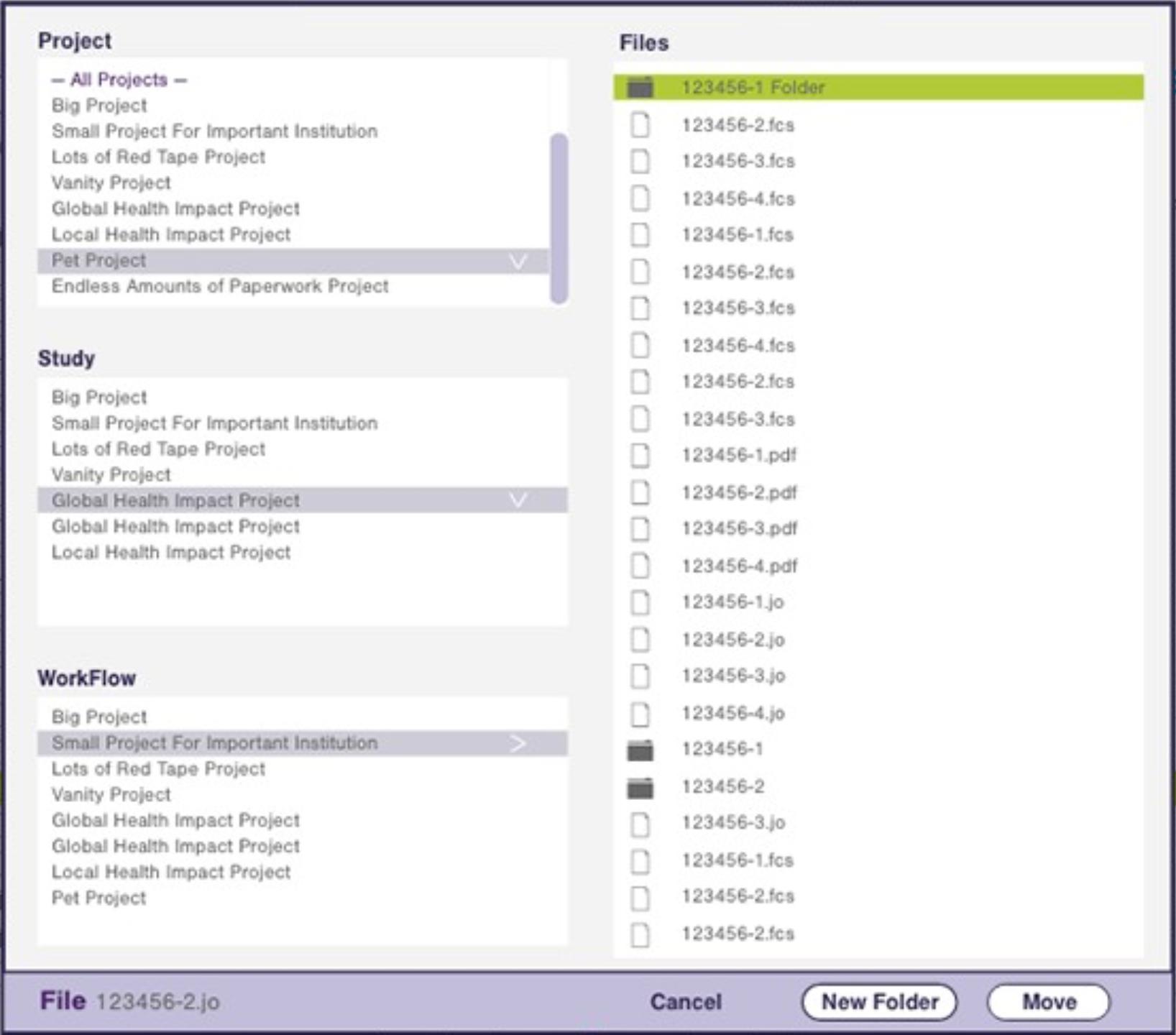 File Selection dialog